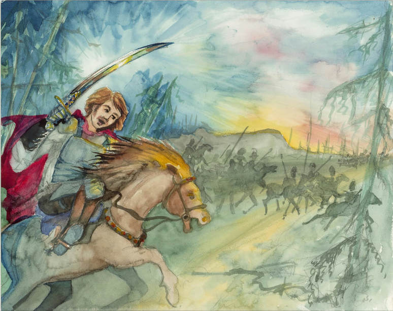 Duke Arthur medieval knight charging into battle on war horse
