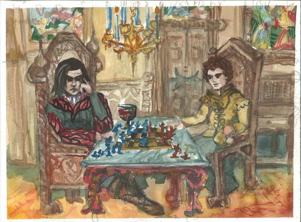 medieval chess players ornate middle ages chamber
