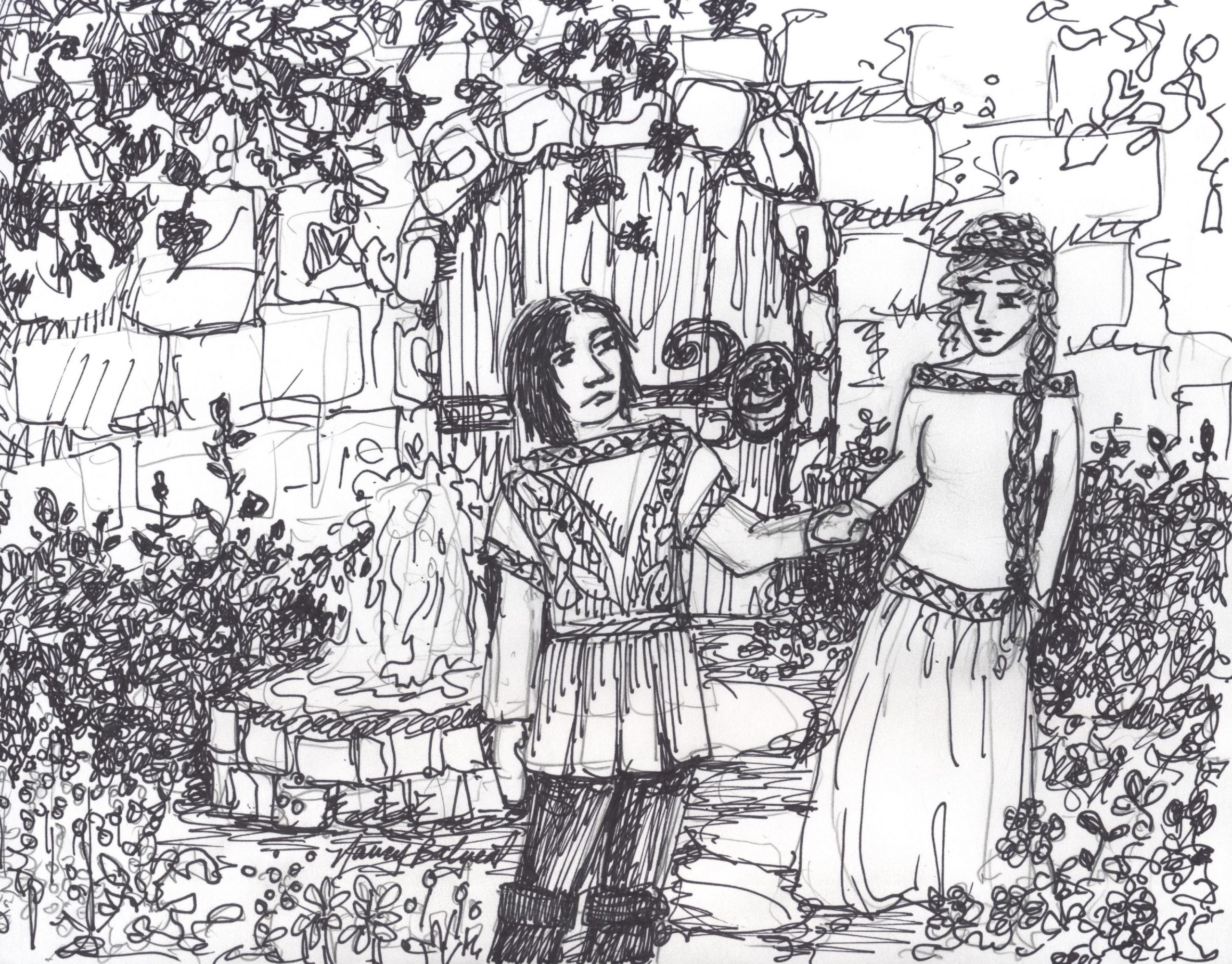 medieval monastery garden coloring page